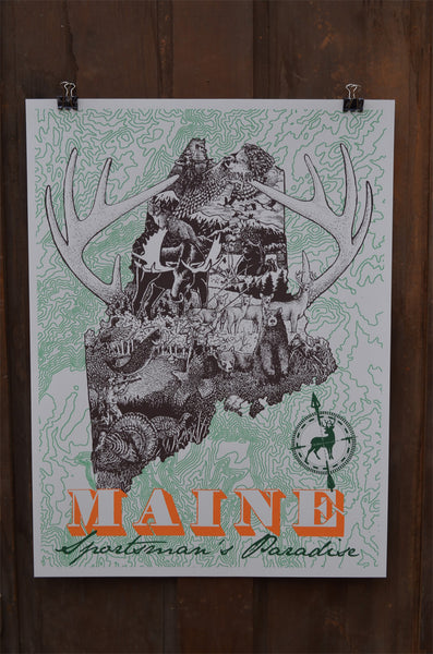 MAINE MAP SPORTSMAN'S PARADISE LIMITED PRINT