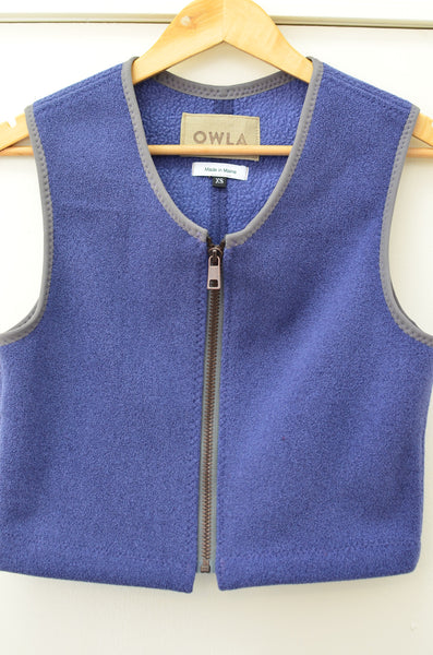 OWLA - JAPANESE SHERPA FLEECE (CROPPED VEST) - BLUE