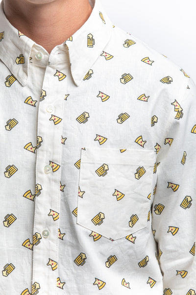 PHATEE WEAR - LS SHIRT (BEER PIZZA) WHITE