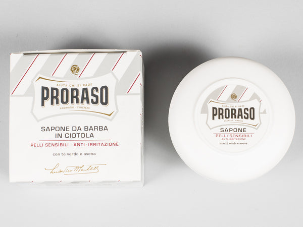 PRORASO SHAVE SOAP IN A BOWL - WHITE - GREEN TEA & OAT (150ML)