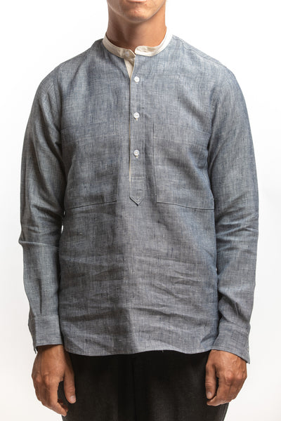 PTC - MANDRINE POP-OVER LS LINEN SHIRT - CHARCOAL NAVY