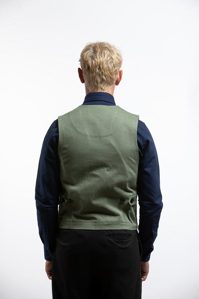 PTC VEST JACKET - DEEP NATURAL INDIGO DYE / ARMY GREEN TWILL
