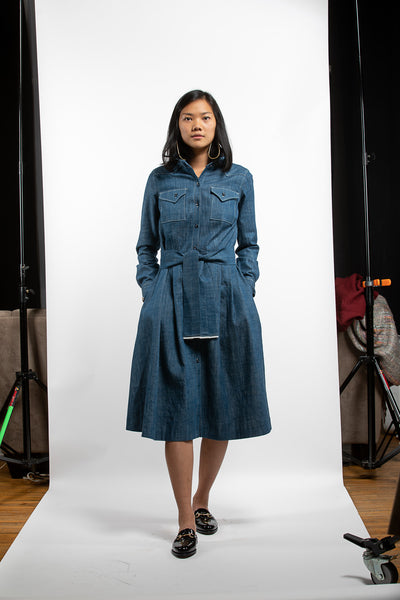 PTC WESTERN SHIRT DRESS - BLUE DENIM