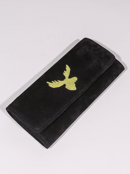 RES IPSA X PTC CLUTCH W/ GOLD MOOSE EMBROIDERY (NAVY SUEDE)