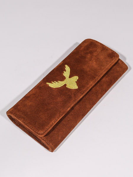 RES IPSA X PTC CLUTCH W/ GOLD MOOSE EMBROIDERY (SNUFF SUEDE)