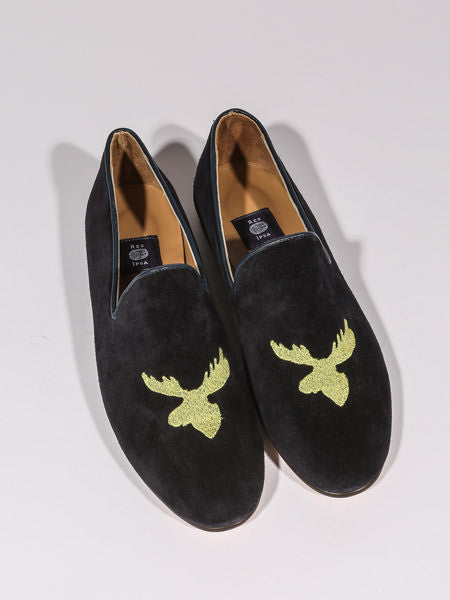 RES IPSA X PTC MEN'S LOAFER W/ GOLD MOOSE EMBROIDERY (NAVY SUEDE)