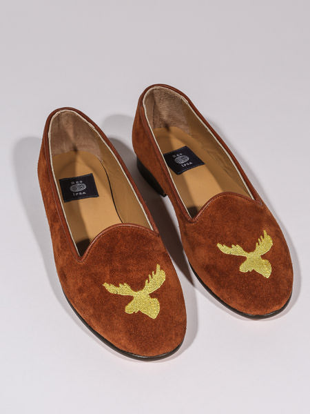 RES IPSA X PTC LOAFER W/ GOLD MOOSE EMBROIDERY (SNUFF SUEDE)