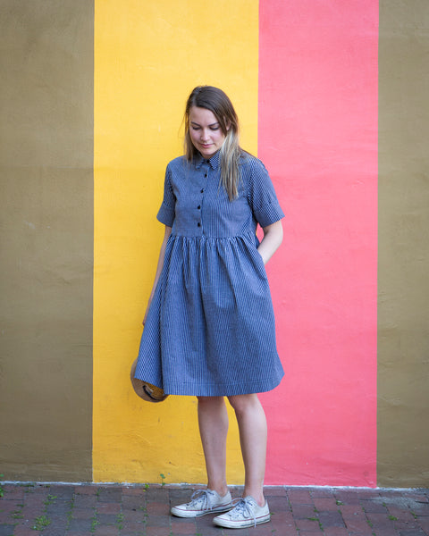 SUMMER BREEZE DRESS - GREY (STRIPES)