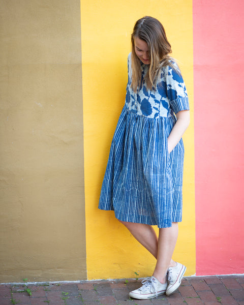 SUMMER BREEZE DRESS - INDIGO (IVY / STRIPES)