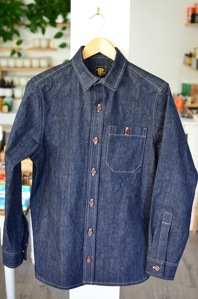 THE DOCKS DENIM WORK SHIRT - DEEP INDIGO
