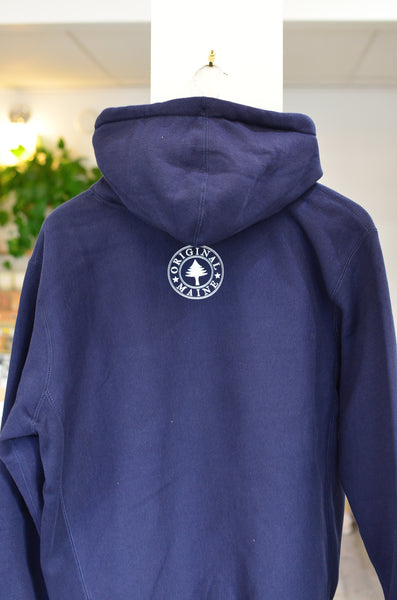 THE ORIGINAL MAINE FLAG - HEAVYWEIGHT HOODIE SWEATERSHIRT (NAVY) UNISEX