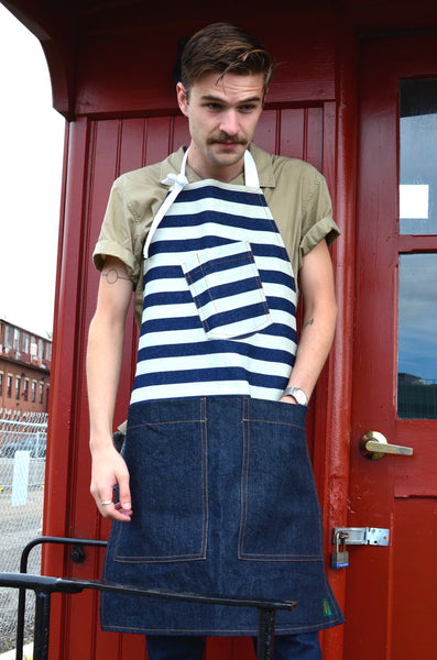 THE QUARTERMASTER APRON - SAILOR STRIPE / DENIM (UNISEX)