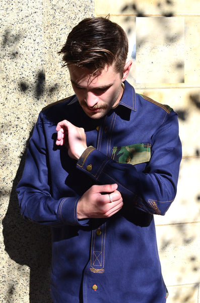 THE QUARTERMASTER SHIRT - NAVY / CAMO (COTTON YARN DYED DENIM)