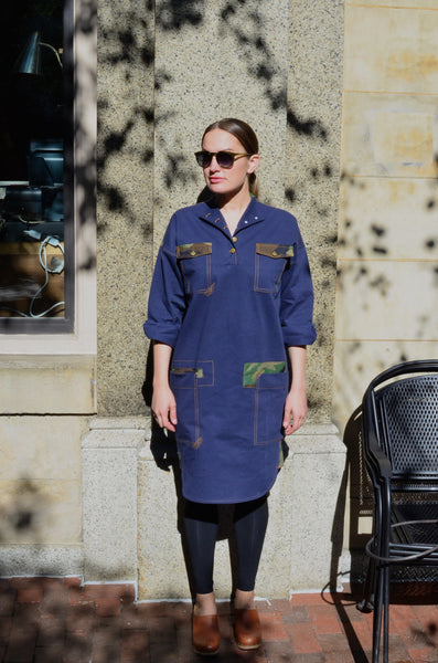 THE QUARTERMASTER SHIRT DRESS - NAVY / CAMO (COTTON YARN DYED DENIM)