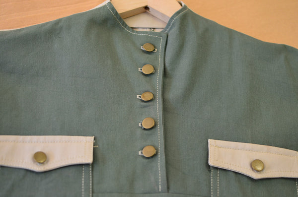 THE QUARTERMASTER SHIRT DRESS - OLIVE / TAN (COTTON YARN DYED DENIM)