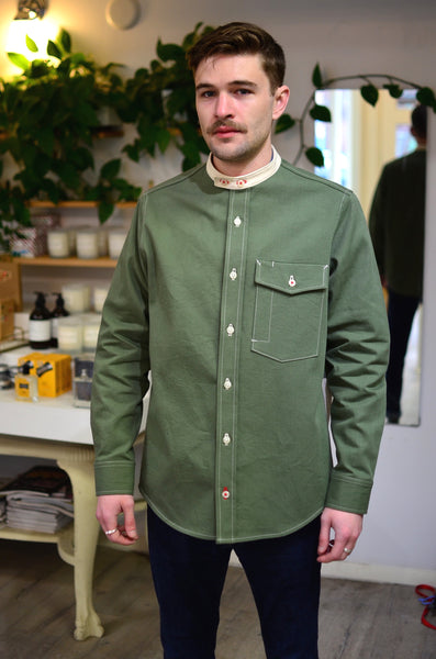 THE ZANZIBAR SHIRT - OLIVE / NATURAL (COTTON TWILL / DENIM)