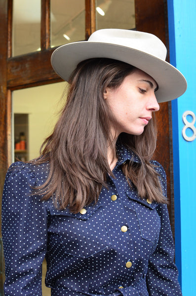 THE BERLIN WESTERN SHIRT DRESS - DENIM POLKA DOTS