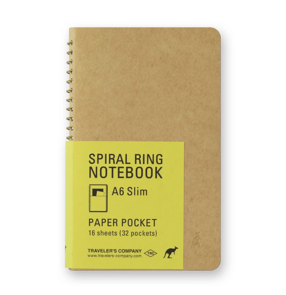 TRAVELER'S COMPANY - SPIRAL RING NOTEBOOK (A6 SLIM) SLIM PAPER POCKET