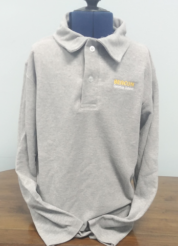Beacon Youth Grey Polycotton Long Sleeve Polo