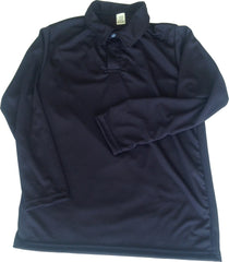 Navy & White Youth Long Sleeve Dry Fit Polo
