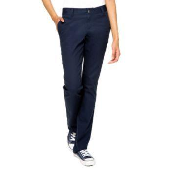 Navy & White Ladies Straight Leg Pant