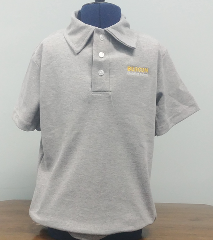 Beacon Youth Grey Polycotton Short Sleeve Polo