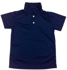 Navy & White Youth Short Sleeve Dry Fit Polo