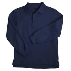 Navy & White Youth Long Sleeve Polo