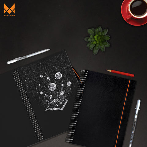Menorah sketchbook with black paper sketchbook. galaxy painting done using brustro acrylics, camel watercolour, factornotes notebook, Archer & Olive Blackout Sketchbook with gouache painting of planets and milkyway