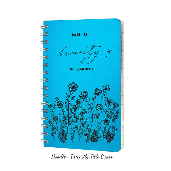 Dot Grid Notebook, 160 pages, Shimmery Blue Notebook, 90gsm, Snag free Metal Wire-O bound, Provides plenty of space for notes, calculations, lists, doodling and perfect for calligraphy