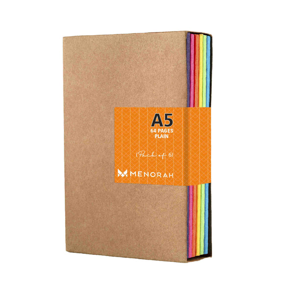 A5 - PLAIN - KRAFT NOTEBOOK - 90 GSM - PACK OF 6
