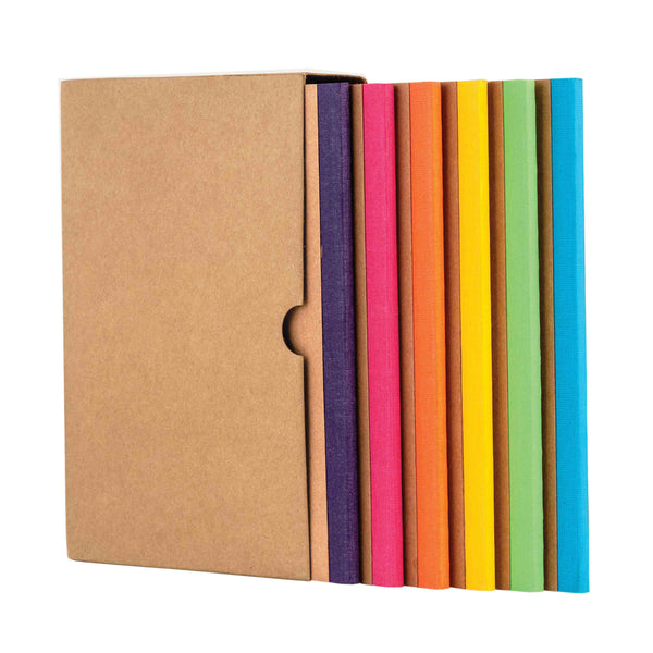 Kraft Notebook, Bullet Journal with 64pages, Softcover, Plain notebook, A5 size, European Kraft Cover with 6 Attractive Spine Tape, lays flat, 90gsm, Pack of 6 notebooks,notes, calculations, lists, doodling and perfect for calligraphy, Journaling, six different color notebook, Imported notebook