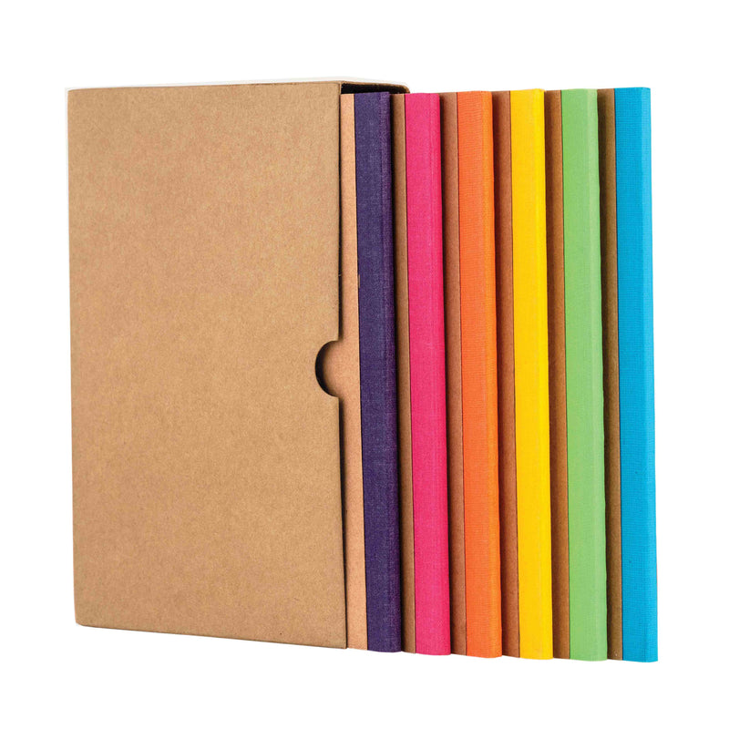 Kraft Notebook, Bullet Journal with 64pages, Softcover, Dotgrid, A5 size, European Kraft Cover with 6 Attractive Spine Tape, lays flat, 90gsm, Pack of 6 notebooks,notes, calculations, lists, doodling and perfect for calligraphy, Journaling, six different color notebook, Imported notebook