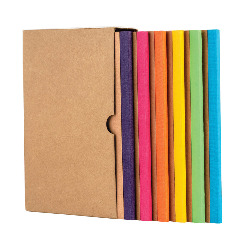 Kraft Notebook, Bullet Journal with 64pages, Softcover, Ruled notebook, A5 size, European Kraft Cover with 6 Attractive Spine Tape, lays flat, 90gsm, Pack of 6 notebooks,notes, calculations, lists, doodling and perfect for calligraphy, Journaling, six different color notebook, Imported notebook