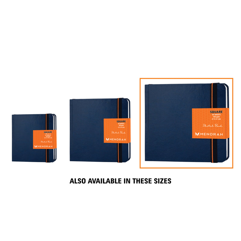 Square sketchbook, 180gsm, Royal Blue Leatherette Cover, 21x21 cm, Square size Sketch book, 100plain pages, Ideal for Doodling, Pencil / Chalk, Oil Pastels, Crayons, graphite & Light water Coloring, Gouache, charcoal, alcohol markers, poster color, coloring book, Artist sketchbook, wet on wet