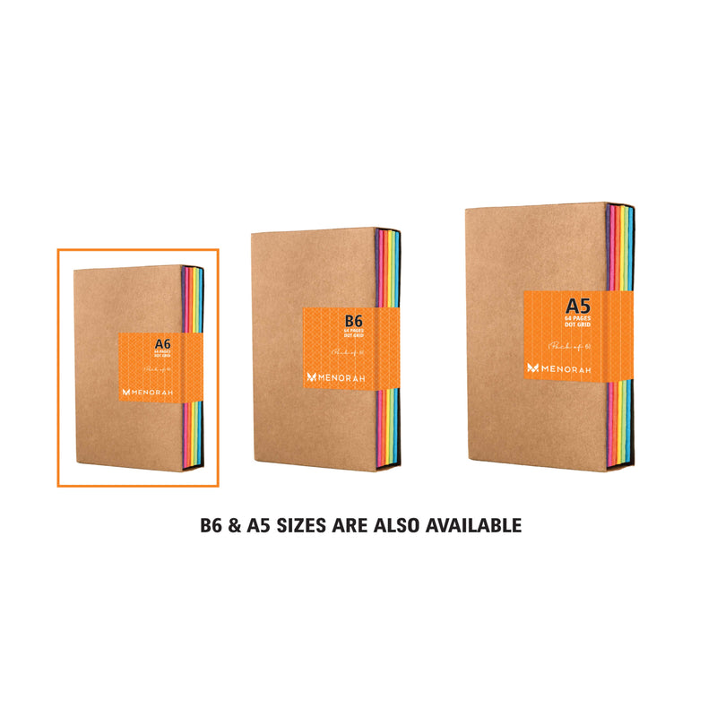Kraft Notebook, Bullet Journal with 64pages, Softcover, Plain Notebook, A6 size, European Kraft Cover with 6 Attractive Spine Tape, lays flat, 90gsm, Pack of 6 notebooks,notes, calculations, lists, doodling and perfect for calligraphy, Journaling, six different color notebook, Imported notebook