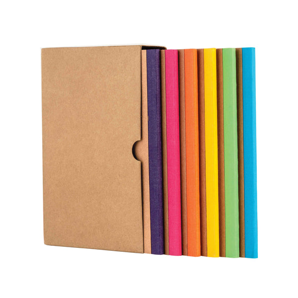 Kraft Notebook, Bullet Journal with 64pages, Softcover, Dotgrid, A6 size, European Kraft Cover with 6 Attractive Spine Tape, lays flat, 90gsm, Pack of 6 notebooks,notes, calculations, lists, doodling and perfect for calligraphy, Journaling, six different color notebook, Imported notebook