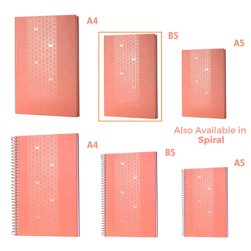 B5 - UNICORN NOTEBOOK / JOURNAL - 100 GSM - RULED - CASEBOUND - (PEACH)