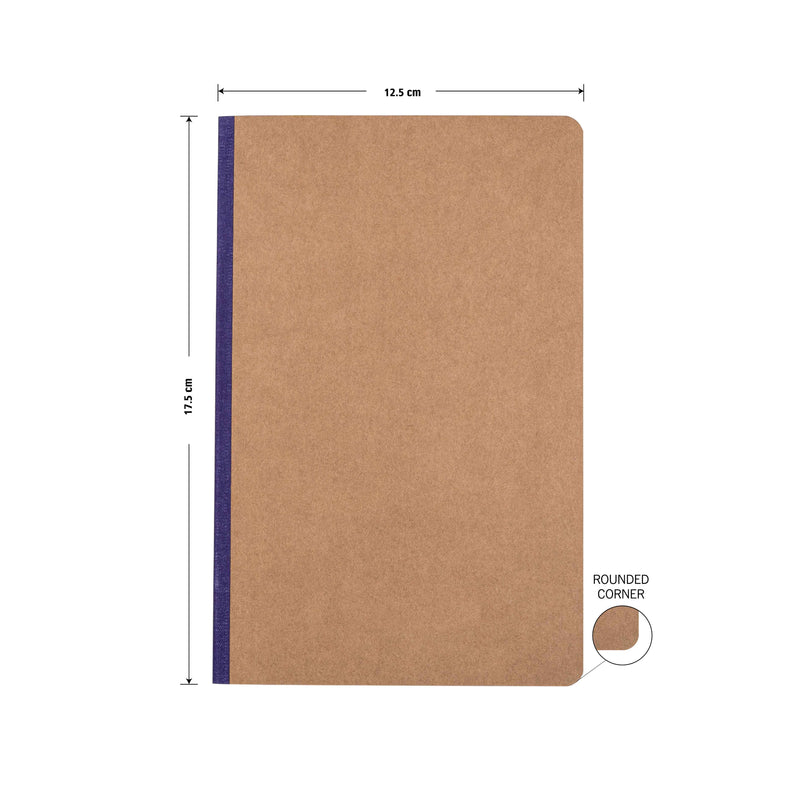 Kraft Notebook, Bullet Journal with 64pages, Softcover, Dotgrid, B6 size, European Kraft Cover with 6 Attractive Spine Tape, lays flat, 90gsm, Pack of 6 notebooks,notes, calculations, lists, doodling and perfect for calligraphy, Journaling, six different color notebook, Imported notebook