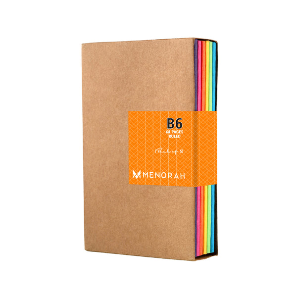 Kraft Notebook, Bullet Journal with 64pages, Softcover, Ruled notebook, B6 size, European Kraft Cover with 6 Attractive Spine Tape, lays flat, 90gsm, Pack of 6 notebooks,notes, calculations, lists, doodling and perfect for calligraphy, Journaling, six different color notebook, Imported notebook