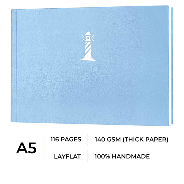 A5 - CASSATA SKETCH BOOK - 140GSM - LANDSCAPE - Sea Blue