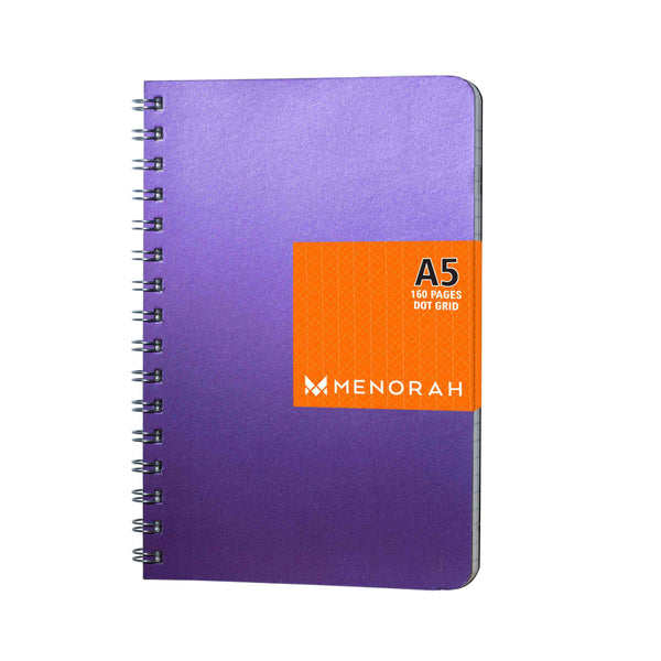 Dot Grid Notebook, 160 pages, Shimmery Purple Notebook, 90gsm, Snag free Metal Wire-O bound, Provides plenty of space for notes, calculations, lists, doodling and perfect for calligraphy