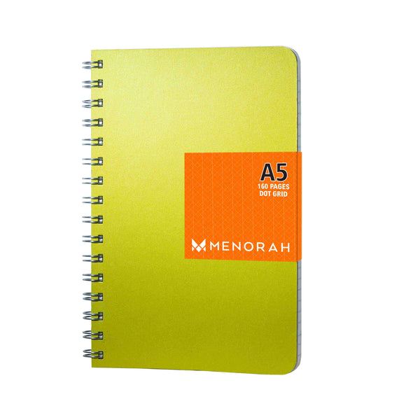 Dot Grid Notebook, 160 pages, Shimmery Green Notebook, 90gsm, Snag free Metal Wire-O bound, Provides plenty of space for notes, calculations, lists, doodling and perfect for calligraphy