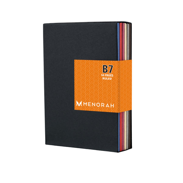 Pocket Diary, B7 size, 6 Attractive color notebook, 90 GSM, Centrally Thread Sewn binding, Pack of 6 Notebooks with 64 pages each, Ruled notebook, Journal, Pocket size notebook
