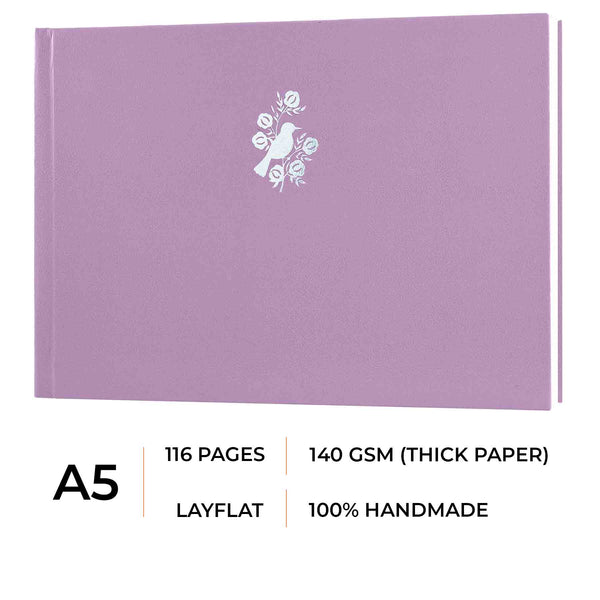 A5 - CASSATA SKETCH BOOK - 140GSM - LANDSCAPE - Angelic Purple