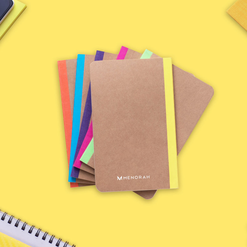 Kraft Notebook, Bullet Journal with 64pages, Softcover, Ruled diary, A6 size, European Kraft Cover with 6 Attractive Spine Tape, lays flat, 90gsm, Pack of 6 notebooks,notes, calculations, lists, doodling and perfect for calligraphy, Journaling, six different color notebook, Imported notebook