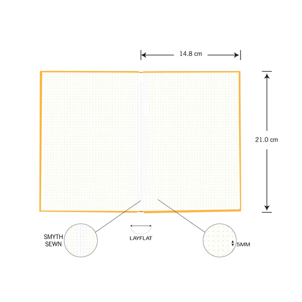 A5-160 PAGES-DOT GRID-YELLOW-HARD NOTE BOOK