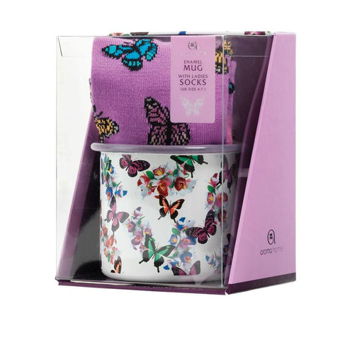 Butterfly Enamel Mug with Socks