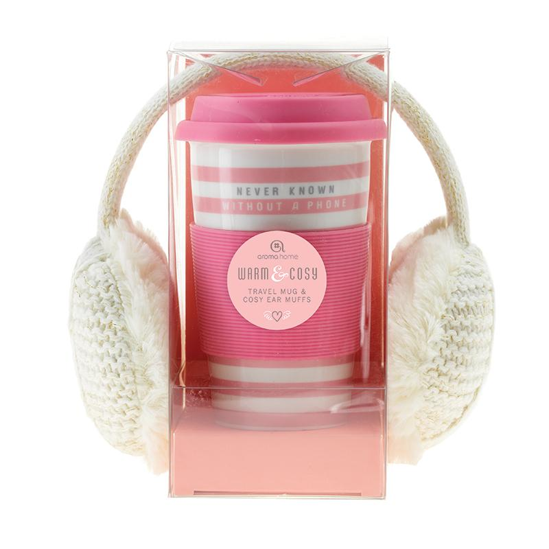 Never Known Without a Phone Knitted Ear Muffs and Travel Mug - Cream