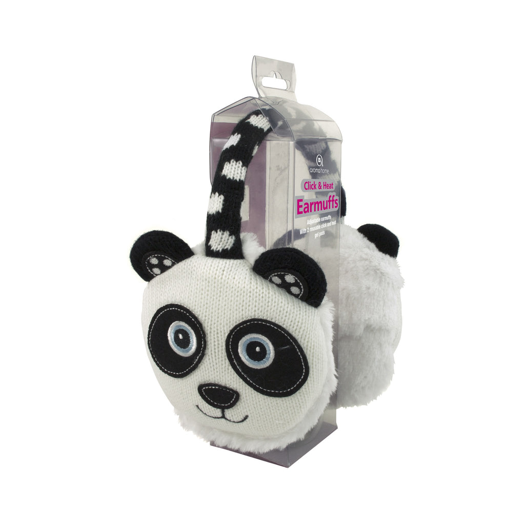 Knitted Panda Heated Ear Muffs